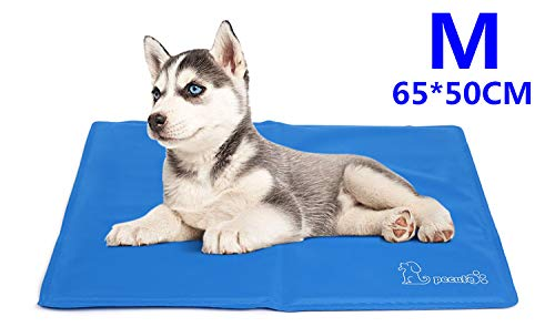 Pecute Dog Cooling Mat Medium 65x50cm, Durable Pet Cool Mat Non-Toxic Gel Self Cooling Pad, Great for Dogs Cats in Hot Summer 1