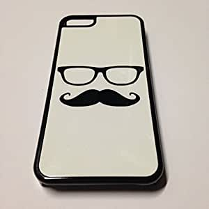 Black iPhone 4/4s Case - Hipster Mustache and Glasses