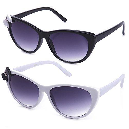 Newbee Fashion Women High Fashion Elegant Cat Eye Sunglasses with - Bow Sunglasses