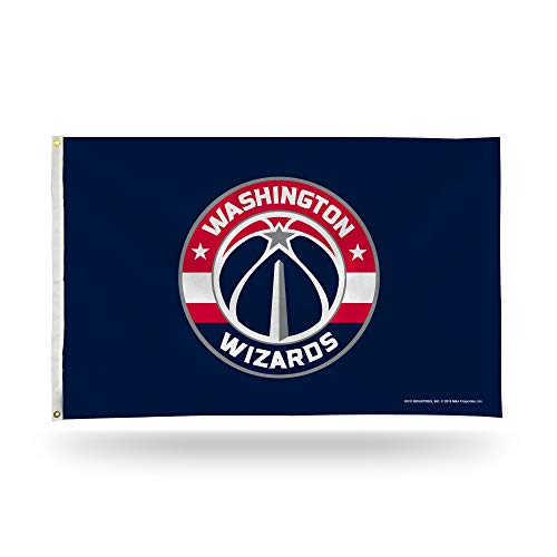 (Rico Industries NBA Washington Wizards 3-Foot by 5-Foot Single Sided Banner Flag with Grommets)