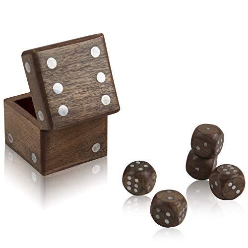 Handcrafted Wooden 5 Dice Box Holder Shaker Dice Roller Thrower Portable Dice Cup Five Dice Game Set Storage Case Decorative Brass Inlay Toys & Games Birthday Housewarming Party Favor Gift -