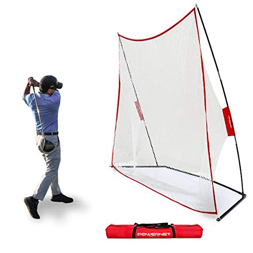 PowerNet Golf Net | Use Real or Practice Balls | New and Improved Design for 2019 | for Working on Drives, Chips with Woods or Irons | Large Hitting Surface | Indoor or Outdoor Use (10' x 7')