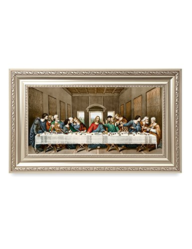 Last Supper Icon - DECORARTS -The Last Supper, Leonardo da Vinci Classic Art Reproductions. Giclee Print& Silver Museum Quality Framed Art for Wall Decor. 24x12, Framed Size: 30x18