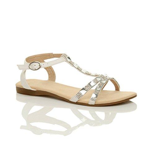 Summer Sandals Size T White Women Flat Ajvani Diamante Bar qZvXYxFw