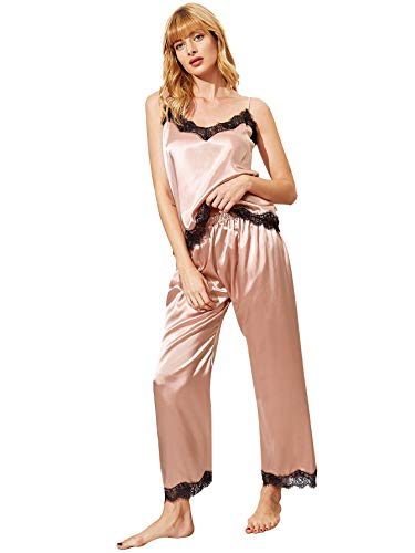 (MAKEMECHIC Women's Lace Satin Sleepwear Cami Top and Pants Pajama Set Pink S)