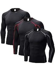 3 paquetes de camisas atléticas para hombre, camisetas de manga larga, protección solar