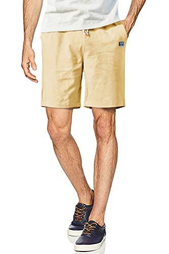 FASKUNOIE Men's Linen Cotton Shorts Casual Flat Front Shorts Slim Fit Elastic Drawstring 7 Inch Short with Pockets Khaki