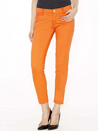 (Apple Bottoms Junior Cut Women's Jeans- Orange - 3/4)