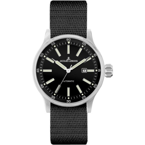 Jacques Lemans Porto Automatic 1-1723D 48mm Automatic Stainless Steel Case Nylon Mineral Men's Watch