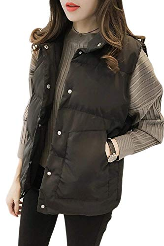 Negro Moda Modernas Cuello Sin Chaleco Otoño Camisolas Prendas Colores  Pluma Chaqueta Casual Botón Exteriores Sólidos Cómodo Mangas ... d3ca0ac8cf17