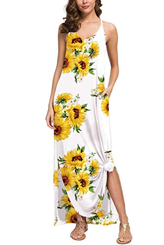 - Donnalla Womens Summer Casual Loose V-Neck Dress Spaghetti Strap Sleeveless Split Maxi Dresses (Sunflower, X-Large)