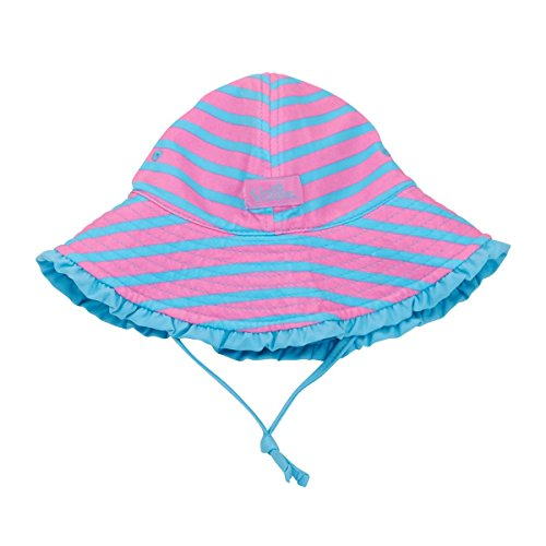 UV Skinz UPF 50+ Baby Girls Reversible Sun Hat- Bubblegum Stripes - 12/18m