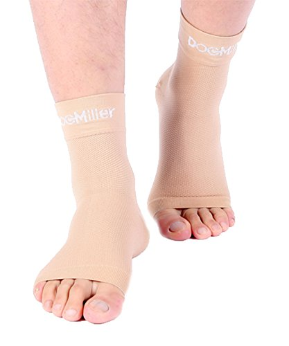 Doc Miller Plantar Fasciitis Socks Medical Grade Compression Foot Sleeves - Ankle Arch & Heel Support Achilles Tendon Support, Heel Spurs Tendonitis, Joint Pain Eases Swelling (Skin, Small)