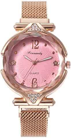 Wristwatch Quartz Casual Watch Slim Women Watch Fashion Minimalist Quartz Watch for Girlfriend(Pink)