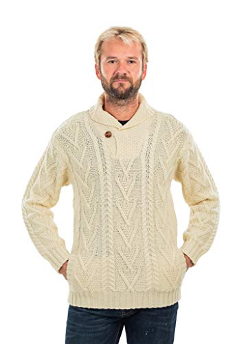 Mens Shawl Collar Single Button Sweater (Natural, XXLarge)