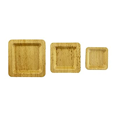 BambooMN Brand - Bamboo Leaf Square Plates - Varies Sizes and Options