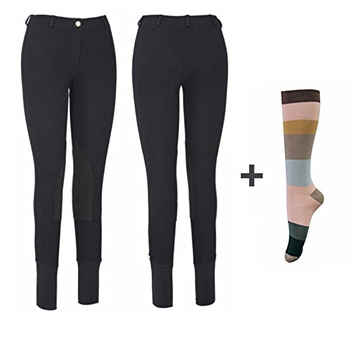 TuffRider Women Starter Lowrise Pull On Breeches with FREE Assorted Striped Socks | Knee Patch | Horse Riding Pants | Equestrian Apparel - Black - 28
