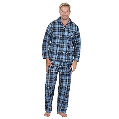 Cargo Bay CARGOBAY Mens Plus Size Brushed Flannel Check Shirt and Trouser Pajama Set Navy-Check 4XL ()