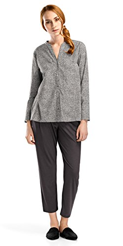 HANRO Women's Sleep and Lounge Woven Long Sleeve Shirt, Microscope Print Small