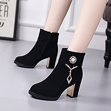 bottes courtes-Pure Color High Heel Women Stile... H733k
