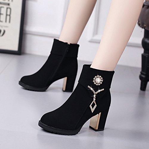 invierno con botas británico cachemir estilo Martin 39 Korean mujer con negro tacon zapatos partido GTVERNH todo grueso de botas madre40 negro qYP8xwvYE