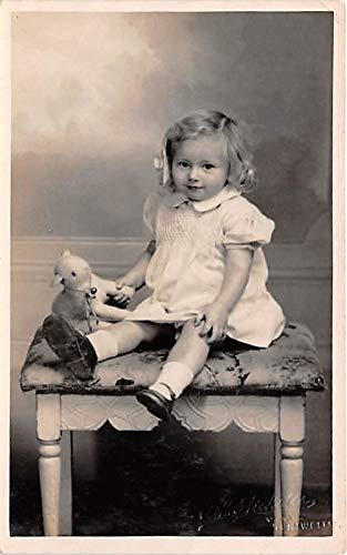 People and Children Photographed on Postcard, Old Vintage Antique Post Card Little girl with stuffed animal Writing on back