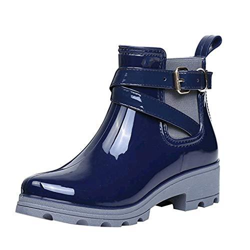 Will It Rain On Halloween (Aniywn Women's Waterproof Rain Boots Buckle Ankle Elastic Non-Slip Shoes Short Boots Platform)