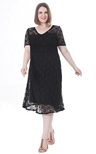 Sapphyra-Womens-Plus-Double-V-Neck-Sheer-Sleeve-Full-Lace-Dress-Size-1X-5X