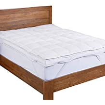 Puredown Premium Goose Down Mattress Pad Bed Topper, 75% Feather/25% Down White, Queen Size