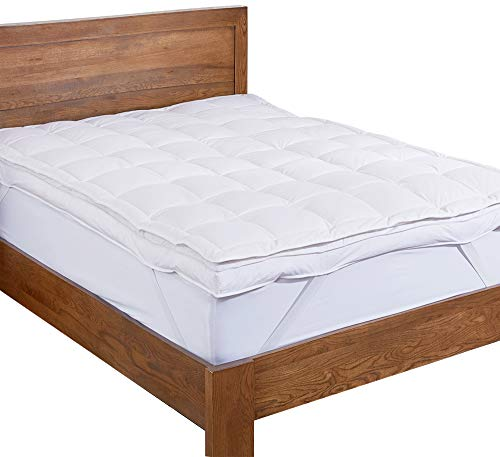 Feather Down Bed - puredown Premium Natural White Goose Down Feather Overfilled Bed Topper 100% Cotton Fabric Mattress Pad King Down