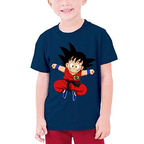 Censu Customized Fashion Sun Wukong Crew Neck Tee T-Shirts for Boys,100% Organic Cotton Navy