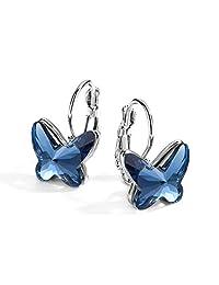T400 Blue Purple Pink Butterfly Swarovski Crystal Lever Back Stud Drop Earrings Christmas Gift for Women Girls