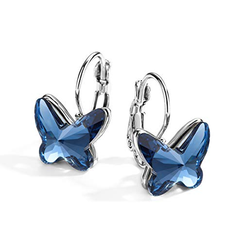 k Made with Swarovski Elements Crystal Butterfly Earrings Lever Back ♥ Birthday Gift for Women Girls ()