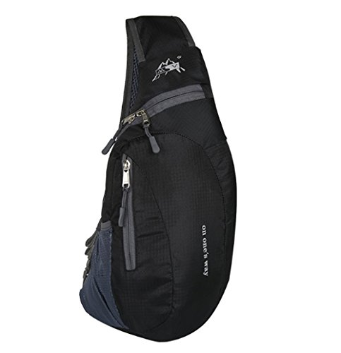 Doogu Sling Backpack Water Resistant Outdoor Shoulder Chest Pack Unbalance Crossbody Bag For Women Men Girls Boys Travel Daypack  Black