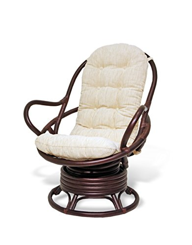 Java Swivel Rocking Chair Dark Brown with Cushion Handmade Natural Wicker Rattan Furniture (Bamboo Wicker Furniture)