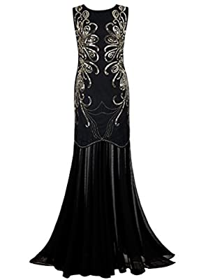 PrettyGuide Women 1920s Gown Sequin Long Flapper Evening Formal Dress