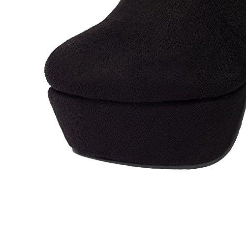 AllhqFashion Damen Hoher Absatz Nubukleder Wasserdicht Plattform Reißverschluss Stiefel Schwarz