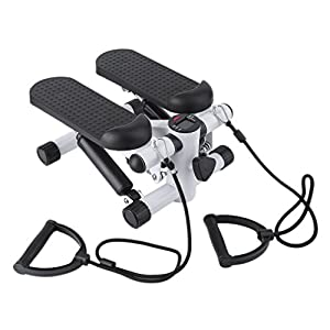 Air Stair Climber Stepper Exercise Machine Aerobic Fitness Step Equipment with Resistance Bands