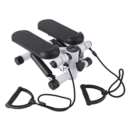Nexttechnology Mini Stepper Climber Air Stair Climber Fitness Exercise Machine With 2 Bands (White)