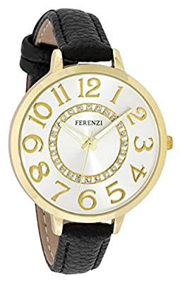 Ferenzi Women's | Fashion Large Gold Watch with Black Thin PU Leather Strap | FZ17701