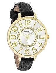 Ferenzi Women's | Fashion Large Gold Watch with Black Thin PU Leather Strap | FZ17701