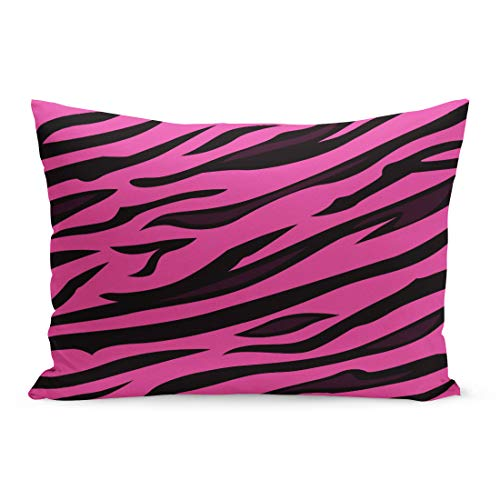 (Semtomn Throw Pillow Covers Purple Zebra Animal Pattern Pink Tiger Skin of Sexy and Femine Organic Use This for Your Unique Stripe Pillow Case Lumbar Pillowcase for Couch Sofa 20 x 36 inchs)