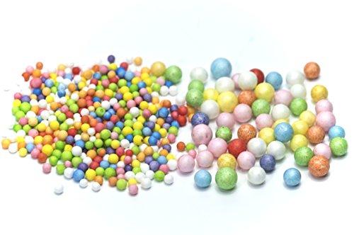 "ALL in ONE Colorful Mini Styrofoam Foam Balls for DIY Craft Art Wedding Party Decoration (0.09""-0.35"" 2 Packs)"