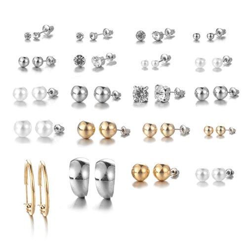 Designer Pearl Stud - Bevan Women's 20 Pairs Stud Earrings Sets Imitation Pearl Rhinestone Yellow Gold Round Ball Jewelry (Style-2)
