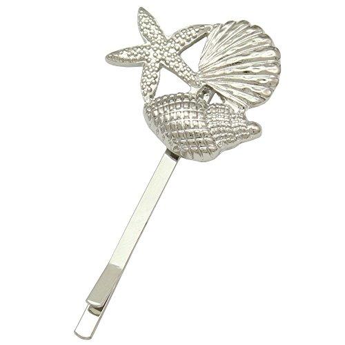 (Q&Q Fashion Silver Plated Scallop Starfish Sea Star Conch Updo Beach Hair Pin Clip Dress Snap Barrette)