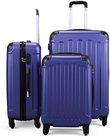 Luggage Expandable Suitcase Sets – TSA Lock Spinner, PC ABS 3 Piece Set, Deep BLUE, 20in24in28in