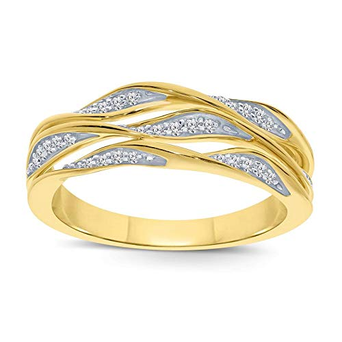 Triss Jewelry 1/6 Cttw Diamond Petite Twist Leaf 3 Row Ring For Women in 10k Yellow Gold