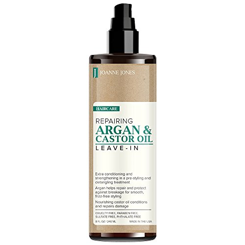 JOANNE JONES Hair Repairing Natural Argan and Castor Oil Leave-In Hair Treatment Spray, Extra Conditioning, Strengthening, Protect Against Breakage Hair for All Hair Types 8oz / 240ml