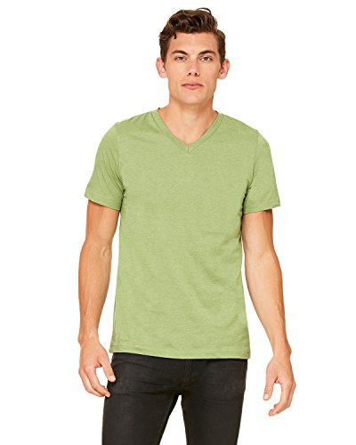Bella + Canvas Unisex Jersey Short-Sleeve V-Neck T-Shirt, Large, HEATHER GREEN