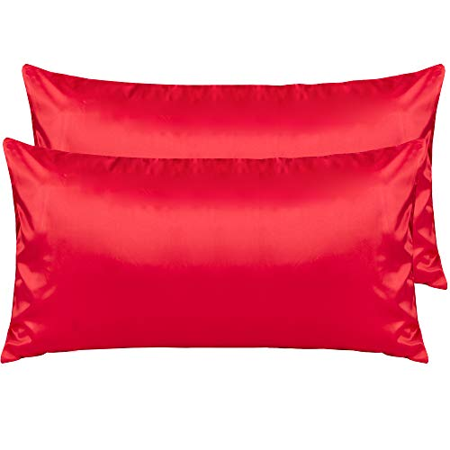 NTBAY Silky Satin King Pillowcases Set of 2, Super Soft and Luxury, Red, King ()